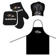 Baltimore Ravens NFL Barbeque Apron, Chef's Hat and Pot Holder Deluxe Set