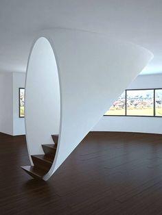 White cone stairs