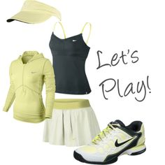 """""""Mellow yellow"""" by tennis-warehouse Tennis Fashion, Sport Fashion, Fitness Fashion, Tennis Wear, Tennis Shoes Outfit, Workout Style, Workout Wear, Nike Womens Golf, Cute Golf Outfit"""