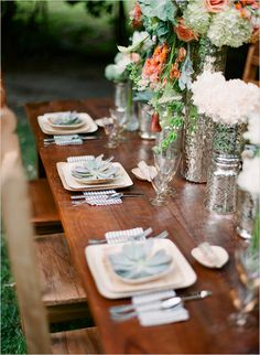 eco friendly wedding ideas, eco wedding,  verterra plates, leaf plates, succulents, mercury glass, blue and white linen, rustic, mexican furniture, peach, white green, flowers Photo by AMBphoto www.ambphoto.com Styled by Catalina Bloch www.catalinabloch.com