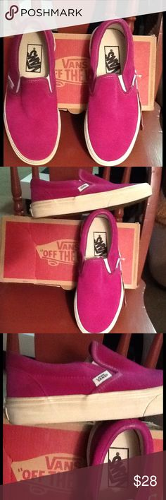 Vans Slip Ons in Fuschia Brand new in original box. These were a display sample at a department store fashion show. Please see the marks on the white trim. Vans slip on with a brushed canvas upper and rubber sole. Vans Shoes Flats & Loafers
