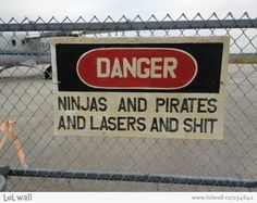 Danger: Ninjas and pirates and lasers and shit.