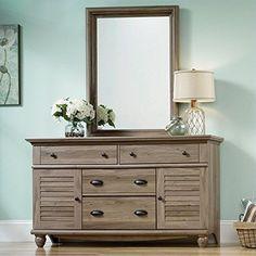 Sauder Harbor View Dresser and Mirror in Salt Oak