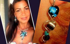 Turquoise+Wire+Wrap+Silver+EARRINGS++from+CamelysUnikatBijoux+by+DaWanda.com