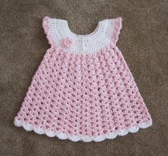 "Angel Wings Pinafore [ ""Angel Wings Pinafore pattern by Maxine Gonser"", ""Approximately 3 oz yarn needed for newborn size."", ""Angel Wings Pinafore - saved at Raverly & a free pattern."", "" Maybe red and white for Christmas. Crochet Baby Dress Free Pattern, Baby Dress Patterns, Baby Girl Crochet, Crochet Baby Clothes, Crochet For Kids, Crochet Dresses, Crochet Patterns, Knitting Patterns, Baby Dress Tutorials"