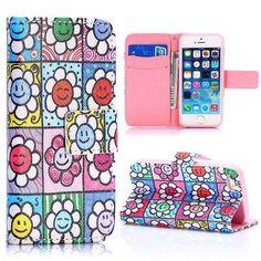 Kleurrijke zonnebloemen bookcase voor iPhone 5 / 5S
