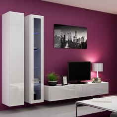 Seattle 22 - Modern TV wall unit with high gloss black MDF fronts Living Room Wall Units, Living Room Designs, Living Room Decor, Decor Room, Wall Unit Designs, Tv Unit Design, Tv Furniture, Furniture Design, Furniture Village
