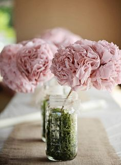 #dusty #pink #wedding #moss #green #lace #ivory #decorations #DIY #mason #jar #tissue #flower #poof #country #shabby #chic #rustic