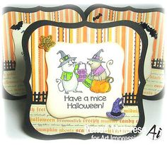 Mice & Pumpkin set. Made by Art Impressions. All can be found in my ebay store & Can be purchased in my ebay Store Pat's Rubber Stamps & Scrapbooks, click on the picture to see it, or call me 423-357-4334 with order, or come by 1327 Glenmar Ave. Mt Carmel, TN 37645, Pat's Rubber Stamps & Scrapbook supplies 423-357-4334. We take PayPal. You get free shipping with the phone orders of $30.00 or more. Use my search engine to find them