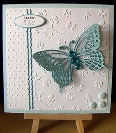 Butterfly Blues; butterfly made using Marianne Creatables die, Cuttlebug Dotty embossing folder and Crafts Too butterfly embossing folder