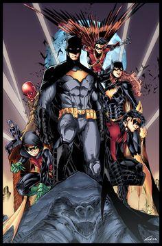 The Bat-Family: Batman, Batgirl (Barbara Gordon), Nightwing (Dick Grayson), Red Robin (Tim Drake), Robin (Damian Wayne), Red Hood (Jason Todd), and Catwoman