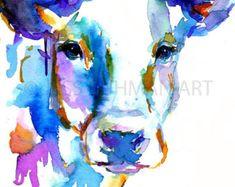 Cow Watercolor Print Animal Watercolor Cow by ArtbyJessBuhman