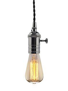 Vintage Pendeleuchte mit Edison Nostalgie Glühbirne aus Messing