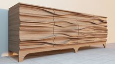 Credenza exploring textured surfaces to be CNC milled