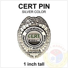 CERT Badge Lapel Pin SILVER Community Emergency Response Team Search Rescue  A05  | eBay