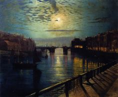 John Atkinson Grimshaw - Whitby Harbour by Moonlight, 1862. Oil on canvas.