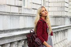 Grafea Wine Hari Backpack styled by Charlotte Fisher www,grafea.co.uk