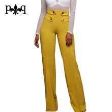 Hilove Mujeres Pierna Ancha Pantalones Casual Señoras de la Oficina de Cintura Alta Bragas Botones Diseño Mujeres Pantalón Largo Otoño Pantalones Palazzo Femme(China (Mainland))