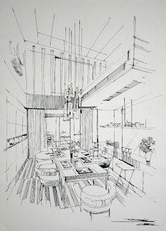 Referral: 5013514103 Home Dec… - Architektur Architecture Design, Interior Design Renderings, Drawing Interior, Interior Design Portfolios, Architecture Sketchbook, Interior Sketch, Perspective Sketch, Building Sketch, Technical Drawing