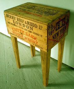 Here's a shot of rustic – Modernarks' Whisky Shipping Crate Side Table.