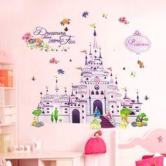 100 * 85cm castillo de la princesa pegatinas de pared del vinilo de habitaciones Girl Wallpaper Arte Mural