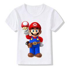 Baby T shirt 2018 Summer Boys Cartoon Super Mario Printed Tops Tees Tollder Girls Casual Short Sleeve Clothes Kids T-shirt. Toddler Outfits, Boy Outfits, Casual Outfits, Casual Clothes, Summer Boy, Cartoon Design, Stylish Kids, Funny Kids, Super Mario