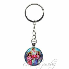 Angel Art Picture Glass Cabochon Pendant Key Chain Ring Simple Keychain