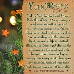 Yule, yuletide, spiritual, magick, wheel of the year, winter solstice, enchanted, decor, orange, spell, white magick, witch, wicca, book of shadows, witchy tip, witch craft, diy, ornaments, christmas, garland, warmth, joy, sun energy   www.facebook.com/thewhitewitchparlour