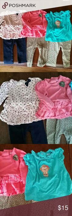 3 Child of Mine 3-6 month outfits with bonus items 3 Child of Mine by Carter's outfits with 3 bonus pants and onesie. Size 3-6 month. Very cute! Carter's Matching Sets