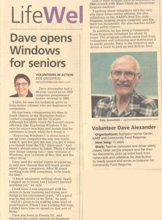 David Alexander has been a volunteer with Rochester SeniorNet (Rochester, MN) for 19 years.