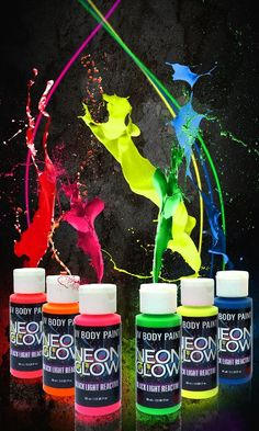 Neon Glow in the Dark Body Paint #1 Premium Set (6 pack of 2 oz. bottles) Glows Brighter, UV Blacklight Reactive- Safe and Non-Toxic! Fluorescent Makeup Set Dries Quickly, Goes on Smooth, Not Clumpy