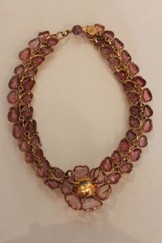 Early CHANEL Gripoix Gilt Poured Glass Necklace