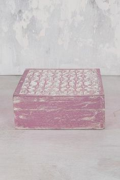 Pink Foiled Carved Wooden Box #pink #carved #box #handmade #fairtrade #india #indian #bedroom #gift