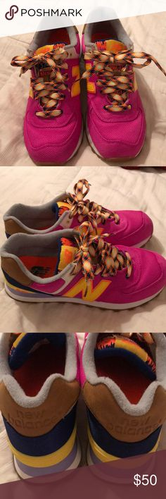 New Balance 574 Women's New Balance 574.  Like Brand New, only wore a couple times.  Style WL574EXB. Size 9.  Nice bright colors of pinks, orange, yellow, & blue.  Great printed tongue and laces!  Super Fun!! New Balance Shoes Sneakers