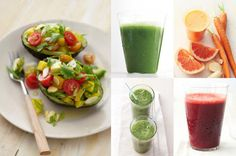 Detox smoothies in orange and green