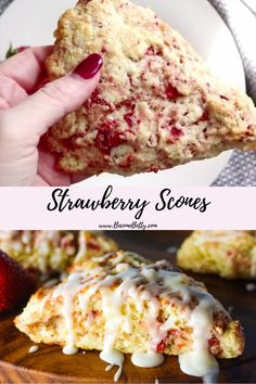 Strawberry Desserts Discover Strawberry Scones Delicious quick and easy strawberry scone recipe is a perfect breakfast or brunch item. Strawberry Scones, Strawberry Breakfast, Strawberry Desserts, Strawberry Pretzel, Easy Desserts, Delicious Desserts, Dessert Recipes, Brunch Recipes, Breakfast Recipes