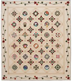 """""""Friendships Offering"""" by Elly Sienkiewicz. Baltimore Album Quilt exhibit I have a block in this quilt Hand Applique, Applique Quilts, Quilting Projects, Sewing Projects, Dear Jane Quilt, Quilt Border, Traditional Quilts, Applique Designs, Needle And Thread"""