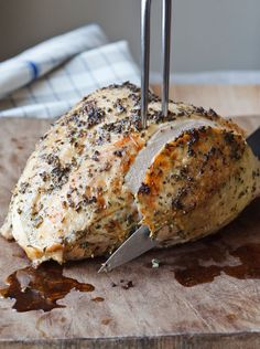 Herb-Roasted Turkey Breast; Ina Garten This is the recipe I base my Thanksgiving Turkey on.  Use Willamette Valley Riesling in the pan along with the seasoning mixture and rub with butter and you will have the best turkey ever.