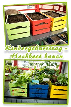 Kindergeburtstag – Hochbeet bauen For a children's birthday, we had mini raised beds planted by the Candle Wall Decor, Plantar, Raised Beds, Indoor Garden, Diy For Kids, Diy And Crafts, Backyard, Birthday, Gardening