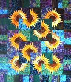Sunflower Illusions, Quiltworx.com, Made by Certified Instructor Sue Wilson. Quilting Projects, Quilting Designs, Quilt Design, Paper Piecing Patterns, Quilt Patterns, Sunflower Quilts, New York Beauty, Traditional Quilts, Fabric Art