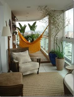 The balcony - our small living room in summer with hammock and terrace furniture . Balcony Furniture, Outdoor Furniture, Outdoor Decor, Apartment Furniture, Furniture Ideas, Porch And Balcony, Balkon Design, Interior And Exterior, Interior Design