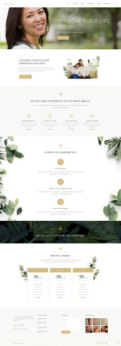 Offer your life coaching services with a beautiful presentation. Make one today using Aviana WordPress theme. Simple Website Design, Beautiful Website Design, Website Design Layout, Website Designs, Layout Design, Spa Website, Coach Website, Website Ideas, Brochure Design Inspiration