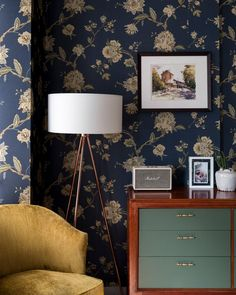navy wallpaper, mid-century vibes