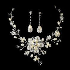 Freshwater Pearl Crystal Wedding Necklace Earring Bridal Jewelry Set