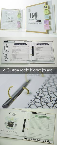#preRamadanProductivityCourse productivity journal for Muslims - WHITEBOARD BINDER - customizable islamic journal - #iwillinshaallah