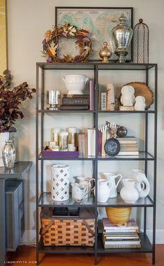 shelf styling (white pitchers!)