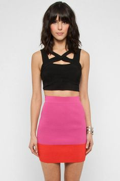 Color Block Fitted Skirt in Pink  $23 at www.tobi.com