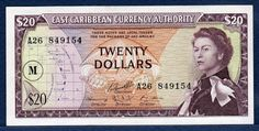 East Caribbean Currency 20 Dollars banknote ND (1965), issued by the East Caribbean Currency Authority.  Obverse: Portrait of the young Queen Elizabeth II in Robes and Wearing the Order of the Garter, from a painting by Pietro Annigoni; Map of the Organization of Eastern Caribbean States and Overprint M in circle (Montserrat); Caribbean Tropical Sea Turtles at center. Reverse: Palm tree and Coastal scene - view of the twin peaks of Les Pitons Volcano