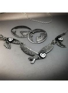 Handcrafted and recycled sterling silver coins Owl necklace