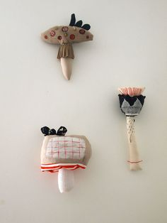 Cloth toadstool fabric flower soft sculptures by JessQuinnSmallArt